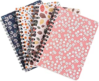 Xgood 4 Colors Spiral Notebook Colorful Spiral Notebooks Student Spiral Journal Notebook Soft-Cover Floral Notebook for St...