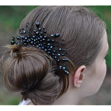 Gothic Lattice Black Bridal Hair Chain-Black Hair Jewelry-Black Hair Accessories-Black Bridal Headpiece-Bridal Hair Drape-Wedding Hair Chain