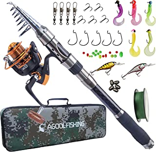 AGOOL Telescopic Fishing Rod and Reel Combo, Carbon Fiber Telescopic Spinning Portable Fishing Pole Fishing Gear with Line...