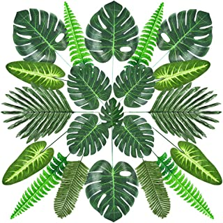 Auihiay 90 Pieces 7 Kinds Artificial Palm Leaves with Stems Tropical Leaves Decoration for Hawaiian Luau Party Decorations Tropical Party Decorations Birthday Baby Shower Decorations