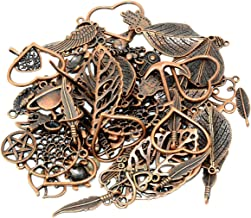 Yansanido 100 Gram (70-80PCS)Red Copper Assorted DIY Antique Charms Pendant Mixed Charms Pendants Necklace Bracelet Wedding DIY Craft Making Accessory (100g mixed copper)