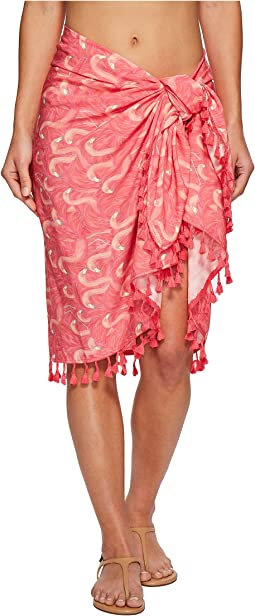 BSS1808 Woven Flamingo Print Sarong Cover-Up
