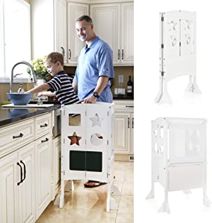 Guidecraft Classic Kitchen Helper Stool - White W/Keeper and Non-Slip Mat: Collapsible, Adjustable Height Safety Cooking Stool for Toddlers with Chalkboard and Whiteboard Message Boards