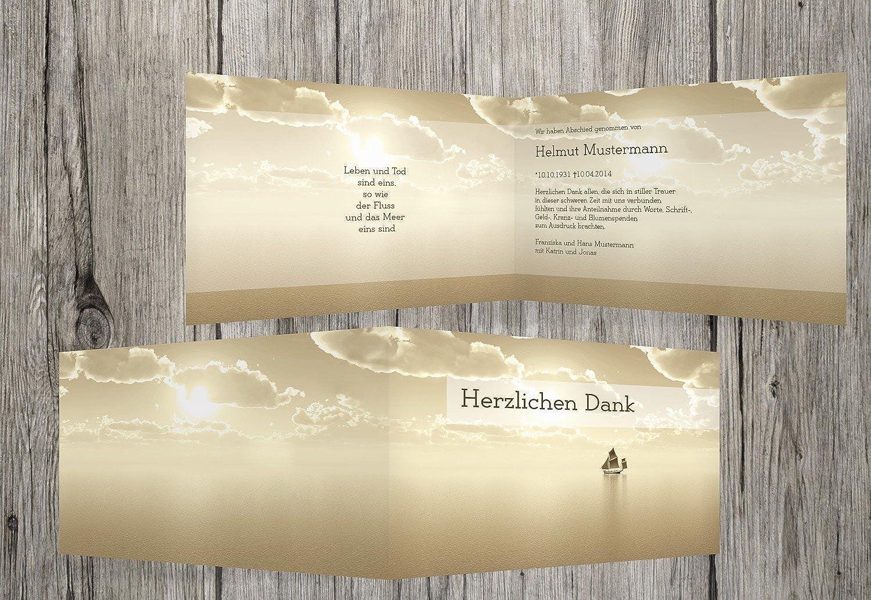 grandes ahorros Tarjetas de agradecimiento luto Barco, marrón claro, 40 Karten Karten Karten  muy popular