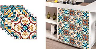 T-shin Tile Stickers,Moroccan Style Pack of 6 Mixed,Trendy Waterproof Wall Stickers Set,Traditional Vintage Transfer Art Decal for Kitchen Bathroom DIY,(7.8x7.8 inches|20x20 cm) (Multi-Mor)