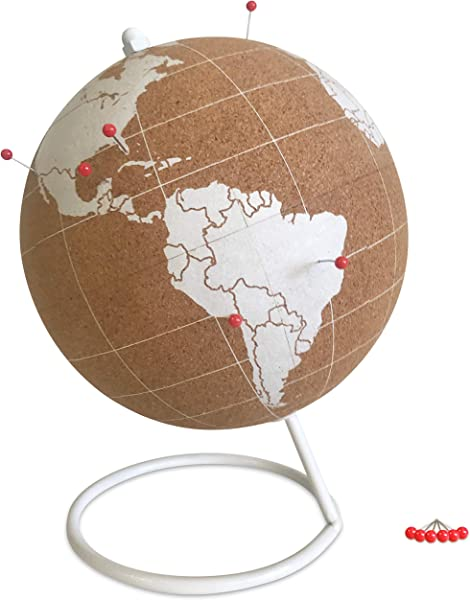 Globe Trekkers Mini White Cork Globe With 50 Red Colored Push Pins Durable Steel Base Great For Mapping Travels Educational Purposes Does Not Have Plastic Strip Like Most
