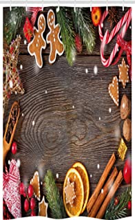 ABAKUHAUS Hombre De Pan De Jengibre Cortina para baño, Especias Galletas, Decorativa 100% Poliéster Set con Ganchos incluídos, 120 x 180 cm, Multicolor