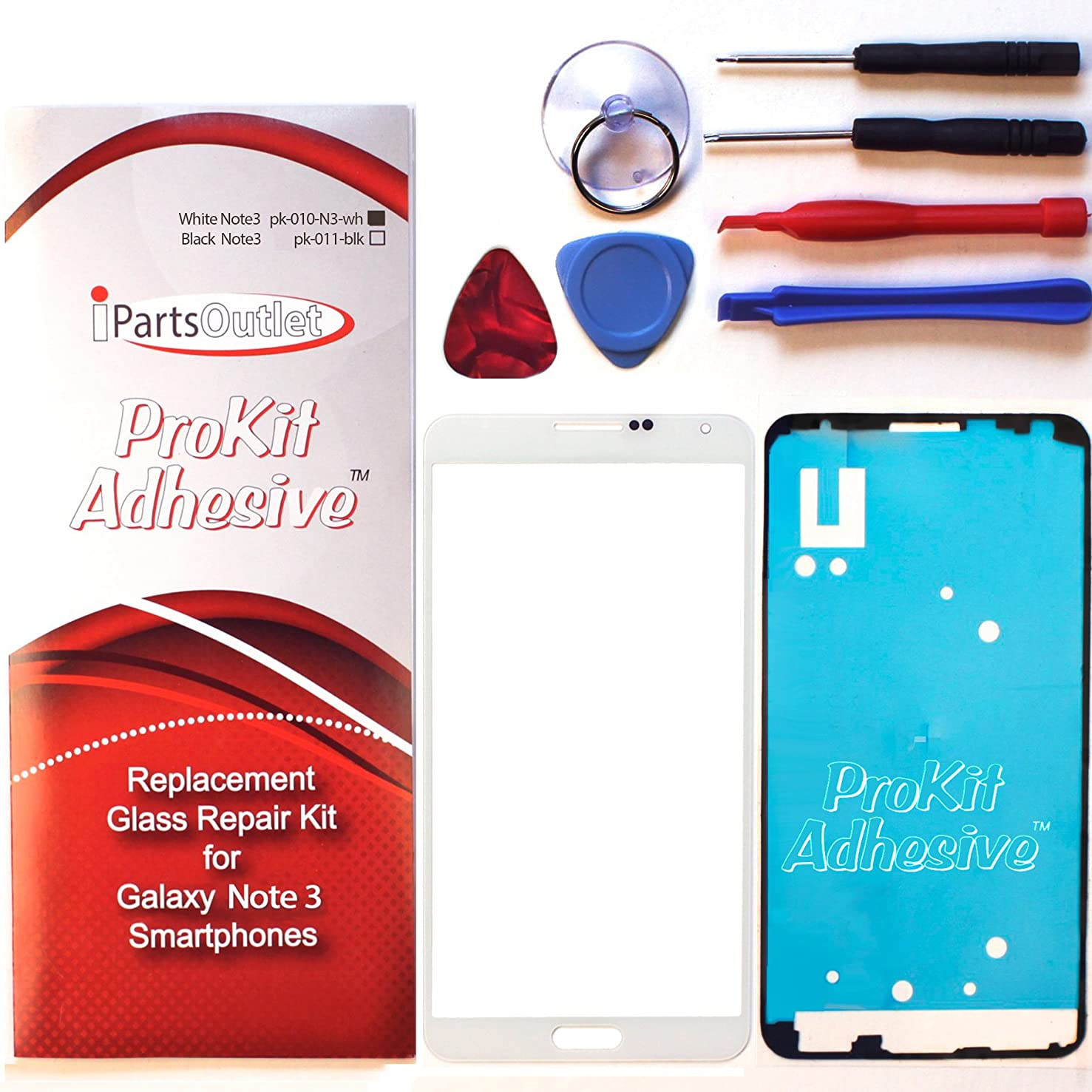 ProKit for NEW Samsung galaxy note 3 screen glass lens repair kit White 3 N900 N9000 lcd cover repair kit (white)