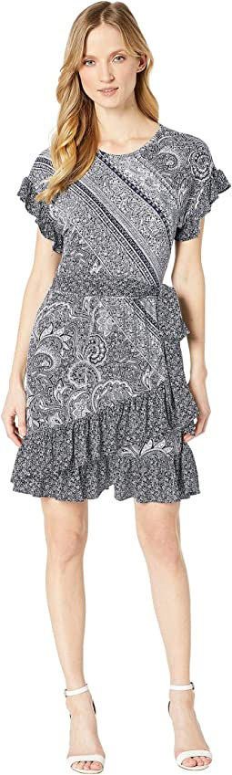Paisley Mix Ruffle Wrap Dress