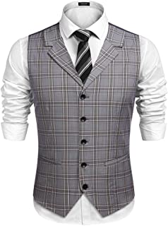 Men's Business Suit Vest Slim Fit Twill Dress Waistcoat for Wedding Party Dinner