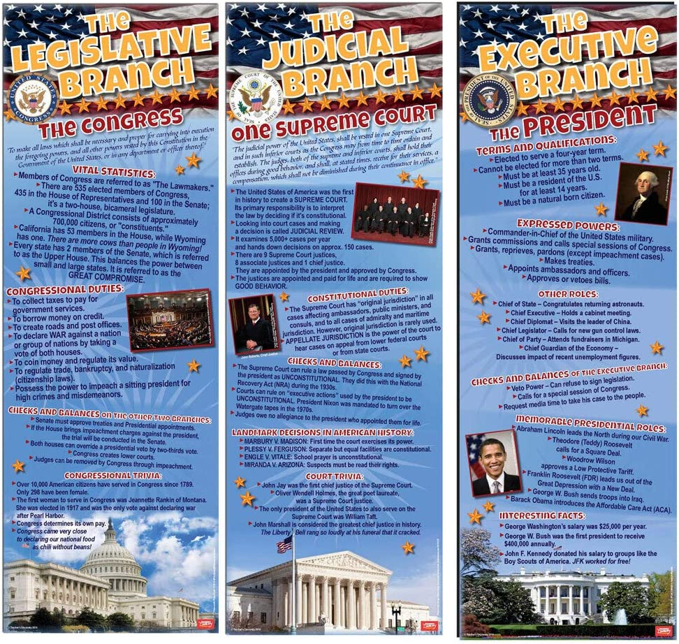 Teacher's Limited time cheap sale Discovery Over item handling Branches of Government ~ 3 Set Posters