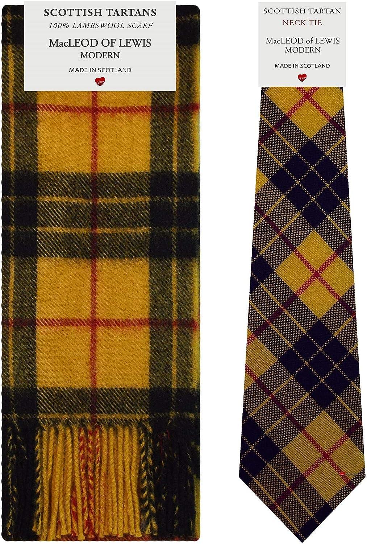 MacLeod of Lewis Modern Tartan Plaid 100% Lambswool Scarf & Tie Gift Set