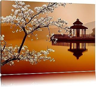 Kirschbaum an Japanischem See Format: 80x60 auf Leinwand, XX