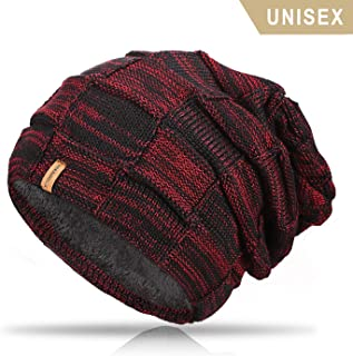 TRENDOUX Beanie Hat for Men, Winter Knit Hats with Warm Lining for Women - Acrylic Unisex Plain Skull Cap - Baggy Slouchy Toboggan Beanies