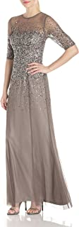 Women's 3/4 Sleeve Beaded Illusion Gown with Sweetheart Neckline