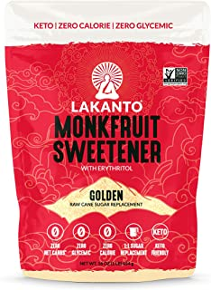 Lakanto Monkfruit Sweetener, 1:1 Sugar Substitute, Keto, Non-GMO (Golden - 1 Pound)