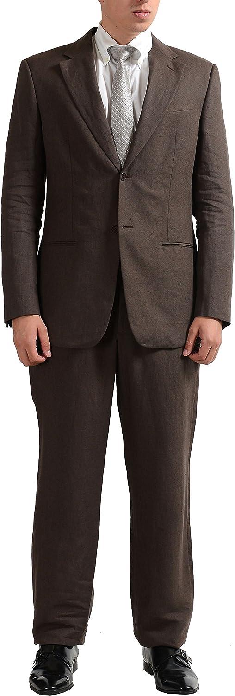 Armani Collezioni Men's Brown 100% Linen Two Button Suit US 40R IT 50R