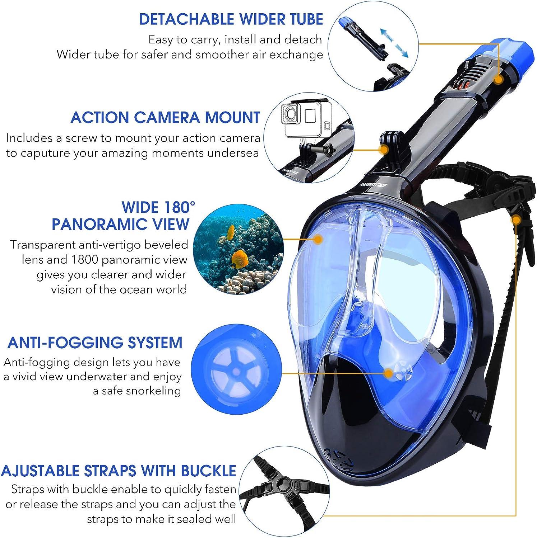 WANFEI Schnorchelmaske Vollmaske Tauchmaske,Neuestes Fortschrittliches Sicherheitsatmungssystem Vollgesichtsmaske mit 180/° Sichtfeld und Kamerahaltung