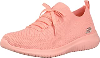 Skechers Damen Ultra Flex-Pastel Party Sneaker, Korallenrot