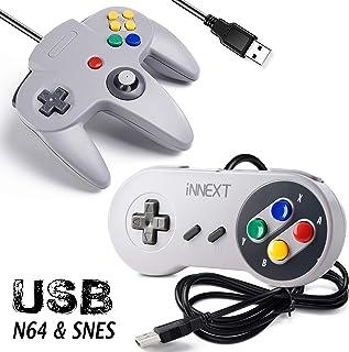 [USB Version] 2 Pack USB Classic Controller, iNNEXT USB N64 & SNES Controller Joystick for Windows PC MAC Linux Raspberry Pi 3 Sega Genesis Higan (Gray)
