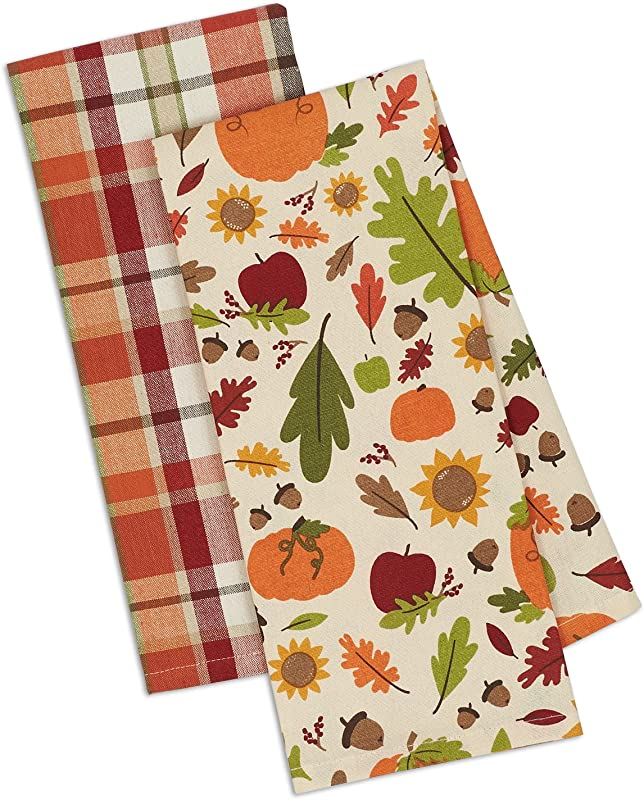 DII Cotton Holiday Dish Towels 18x28 Set Of 3 Decorative Oversized Kitchen Towels Perfect Home And Kitchen Gift Pumpkin Harvest