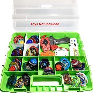 HOME4 BPA Free Toy Display Storage Container Box - Compatible with Beyblade, Mini Toys, Small Dolls, Tools - Heavy Duty Organizer Carrying Case - 17 Adjustable Compartments
