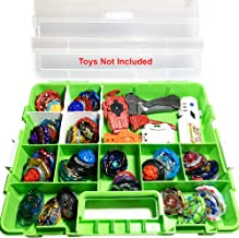 HOME4 BPA Free Display Storage Container Box, Compatible with Mini Toys, Small Dolls, Tools Beyblade, Heavy Duty Organizer Carrying Case, 17 Adjustable Compartments, Toys not Included