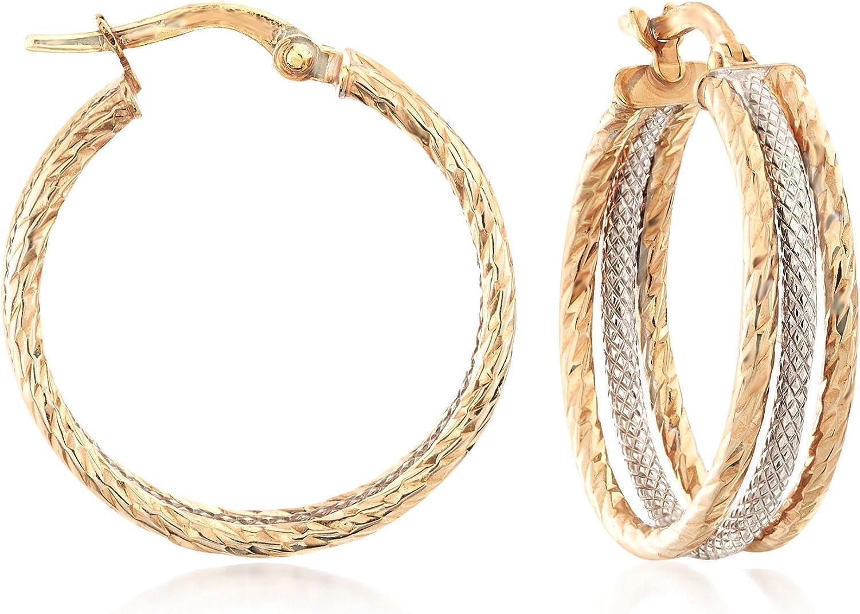 Ross-Simons Italian 14kt 2-Tone Gold Triple-Hoop Earrings