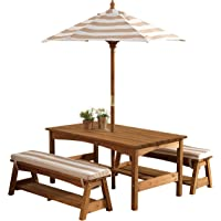 KidKraft Outdoor Table and Bench Set with Cushions and Umbrella (Oatmeal/White Striped Fabric)