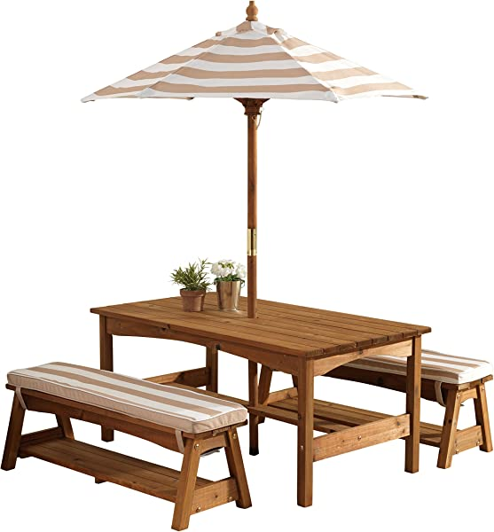 KidKraft 00 Outdoor Table And Bench Set With Cushions And Umbrella Espresso With Oatmeal And White Striped Fabric
