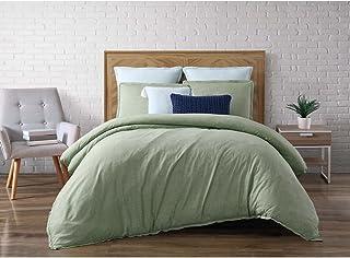 Brooklyn Loom Chambray Loft Duvet Cover Set, Full/Queen, Green