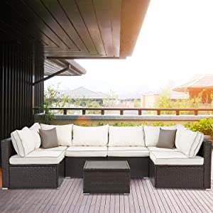 Laurel Canyon Outdoor Patio Furniture 7 Piece Rattan Sectional Sofa, Wicker Conversation Sets with Faux Wood Top Tea Table and Cushions, Brown