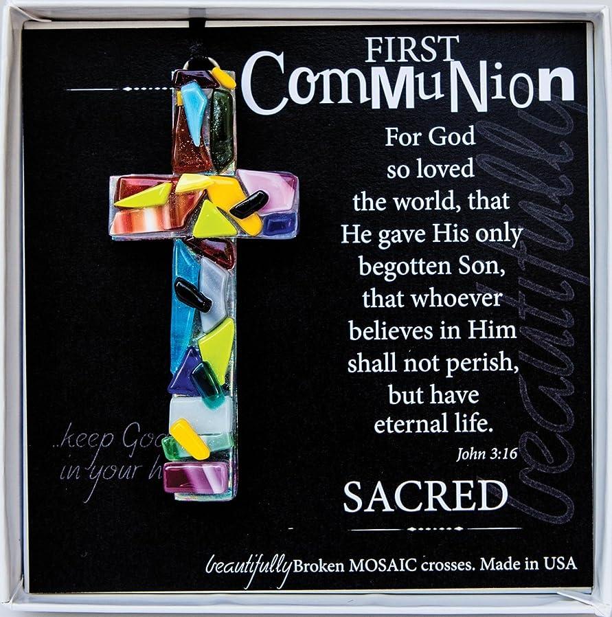 First Communion John 3:16 Mosaic Handmade Glass Cross ybhvdzmg58862