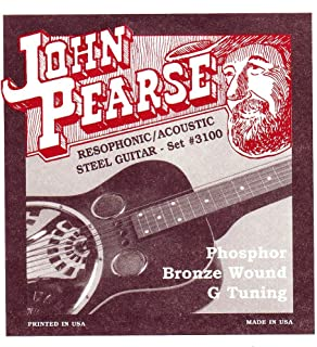 John Pearse JP3100 Resophonic Acoustic Steel Guitar Bronze Wound G Tuning