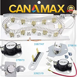 3387747 Dryer Heating Element & 279816 Thermostat Kit & 279973 3392519 Dryer Thermal Cut-off Fuse Kit Premium Replacement by Canamax - Compatible with Whirlpool Kenmore Dryers