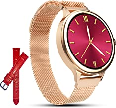 AMATAGE Smart Watch for Women for iPhone Android Phones, Fitness Activity Tracker Watch with Heart Rate, Sleep Monitor, Blood Pressure Monitor, Full Touch Screen, Extra Leather Band (Gold/Extra Band)