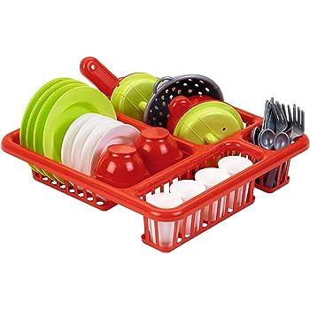 Jouets Ecoiffier – 608 - Égouttoir à vaisselle pour enfants + vaisselle et couverts – 34 pièces - Dès 3 ans – Fabriqué en France