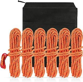 LIHAO 6X Kletterseil Reepschnur Nylon Seil Set mit rot Schiebeknopf für Outdoor Sport Camping Bergung, EIN schwarz Aufbewahrungsbeutel, Orange 4m4mm MEHRWEG