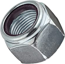 Steel Machine Screw Hex Nut, Zinc Plated Finish, Grade 2, Self-Locking Nylon Insert, Right Hand Threads, #12-24 Threads, 0.482