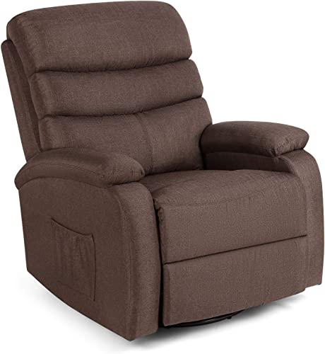 popular 8 Point Massage Recliner Lounge new arrival Chair, Zero Gravity Linen Ergonomic Living sale Room Sofa with Heated Control Home Theater Seating Fit for Office Nap (Brown) online