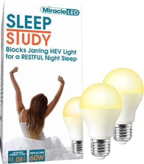 Miracle LED 602014 Sleep Study 9W Light 2-Pack Replacing Old, Hot 60W Incandescent Bulbs, Amber Glow