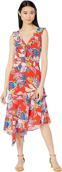 Bouquet Floral Silk Crepe De Chine Alexis Dress