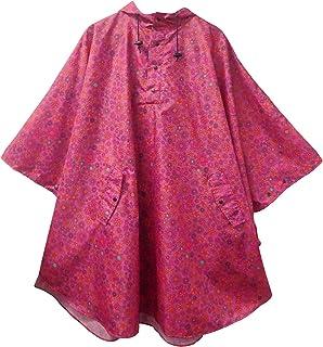 サンズ 収納袋付き レインポンチョ ピンク フラワー 全12色 フリーサイズ RP-001 A-2