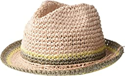 Raffia Crochet Straw Striped Fedora