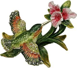 Sparkling Collectibles Flying Hummingbird Pewter Figurine Box - Swarovski Crystals, Hummingbird Figurine, Jewelry Box