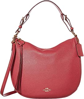 Polished Pebble Leather Sutton Hobo Dusty Pink/Gold One Size