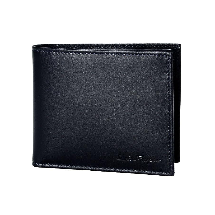 明示的に必要とする不器用Salvatore Ferragamoメンズダークブルーレザー二つ折り財布