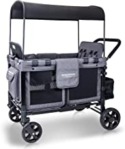 WonderFold Baby Multi-Function Four Passenger Wagon Folding Quad Stroller with Removable Reversible Canopy & Seats up to 4 Toddlers, Gray