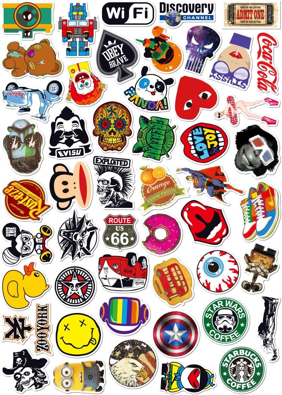 Dinpei Pacchetto di Adesivi per Laptop 100 Pezzi A01 Adesivo alla Moda Adesivi Fantastici Unici Adesivo per Acqua Notebook per Chitarra Skateboard Adesivi per Bambini da Viaggio
