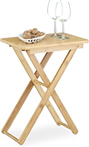 Relaxdays Table d'appoint pliable bambou table de jardin table console rectangle balcon terrasse HxlxP: 52 x 40 x 31 cm- nature